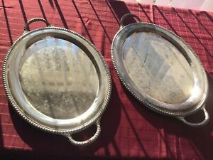 2 Vintage 1950s Wm Rogers Eagle And Star 880 Silver Plated Butler S Trays 21x14