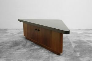 Vintage Teak Triangular Low Console Table Cabinet With Zebrawood Laminate Top