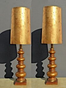Pair Of Vintage Mid Century Modern Hollywood Regency Tall Gold Gilt Table Lamps