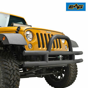 07 18 Jeep Wrangler Jk Black Fat Tube Front Bumper With Double Tubular Hoop