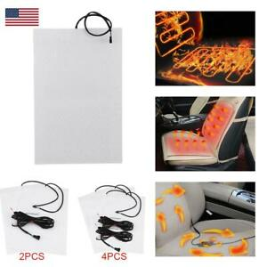 Universal Carbon Fiber Car Heated Seat Heater Pads Kit With Round Switch Kit