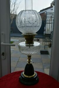 Victorian Twin Burner Oil Lamp Stunning Clear Etched Glass Font