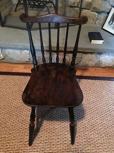Antique Dark Wood Child Chair Spindle Back C1900 With Original Red Trim On Legs