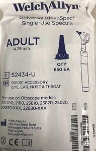 Welch Allyn Macro View Disposable Otoscope Specula Adult 4 25mm 850 bag 52434 u