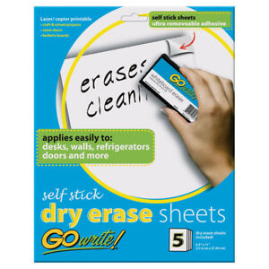 Go Write Dry Erase Sheets Self Stick 8 5x11 6 Ea As8511