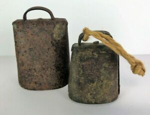 Primitive Antique Cow Bells 1800 S Hand Forged Rivets Blacksmith Farm Iron