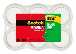 Scotch Tough Grip Moving Packing Tape 1 88 X 43 7 Yd Clear Pack Of 6
