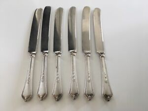 6 Antique 1914 Shelburne Gorham Gm Co Silverplate French Hollow Knives