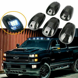 5x Smoked Lens Roof Top Cab Lights Led White For Chevy Silverado colorado Etc
