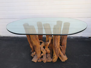 Mid Century Modern Tree Trunk Base Dining Table With Glass Top 9338