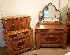 Antique Bedroom Set High Chest And Dresser Mirror Mixed Wood Carved Vintage