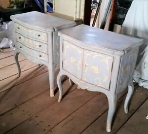 2 Vintage Hand Painted Italian End Bed Side Tables Chests By Patina Blue White