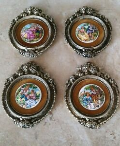 4 Antique French Hand Painted Ornate Brass Tile Framed Medallions Romantic 5