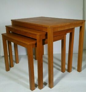 Vintage Set Of 3 Teak Wood Nesting Tables Danish Modern Mid Century