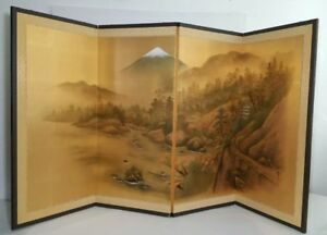 Vintage Antique Japanese Painted Silk Screen 4 Panel Divider Painting Signed