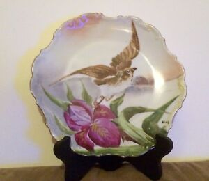 Signed Antique Flambeau French Limoges Hand Painted Bird Floral Charger Plate