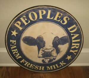 Dairy Cow Milk Farmhouse Sign Primitive French Country Kitchen Decor Navy Blue