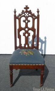 Antique Victorian Blue Floral Needlepoint Alter Accent Chair French Provincial