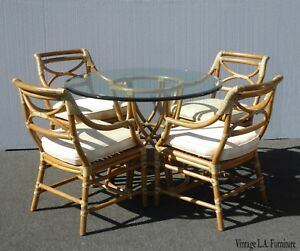 Vintage Mid Century Modern Mcguire Dining Room Table And Four Chairs