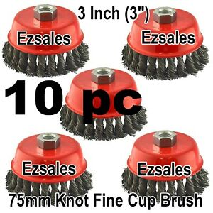 10 Pc 3 X 5 8 11 Nc Fine Knot Wire Cup Brush Twist 4 1 2 Angle Grinders Wheel