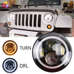 Dot 7 Round Cree Led Headlight W Halo Angle Eyes For Jeep Wrangler Jk Lj Tj