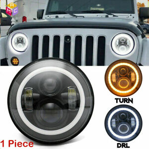 Dot 7inch Round Led Headlight w Halo Angle Eyes Fit Jeep Wrangler Jk Lj Tj