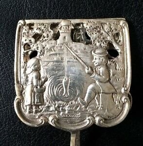 Antique German 800 Silver Sugar Cube Tongs Adorable Boy Girl Fishing At Pond