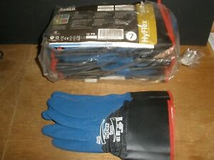 Ansell Hyflex 11 948 Cut Resistant Gloves Blue gray Grip Nitrile qty 10 Pairs