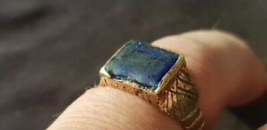 Exquisite Stunning Tudor Ring With Blue Glass Sett A Must Read Description L404