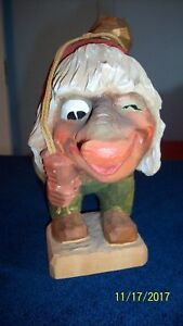 Henning Norway Norwegian Hand Carved Wood Troll With Gold Nugget On Back 8 Tall