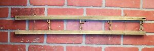 Vintage Farm House Salvage Painted Wood Iron Hooks Wall Hanging Coat Hat Rack