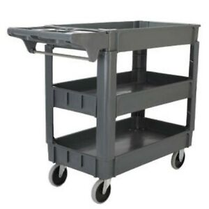 3 Layers Standard Plastic Service Cart Office Mobile Tool Storage Station Shelfs