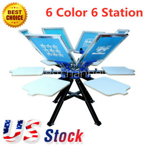 Usa 6 Color 6 Station Silk Screen Printing Press Printer T shirt Print Equipment