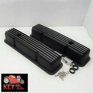 Small Black Chevy Black Finned Aluminum Valve Covers Sbc 305 307 350 400 383