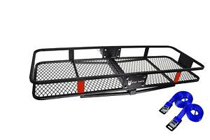 60 22 Steel Cargo Carrier Basket Rack W 2 Hitch Receiver 500lbs