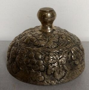 Vintage Plated Silver Cheese Meat Dome Cover W Grape Vine Design Hammered