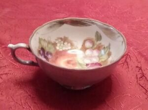 Vintage Bone China Silver Tea Cup With Floral Design And Gold Rim
