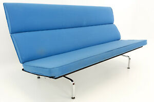 Vtg Mcm Eames For Herman Miller Mid Century Modern Compact Daybed Sofa Blue