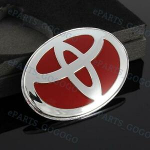 Red Steering Wheel Emblem Badge Sticker For Toyota 47x 68mm