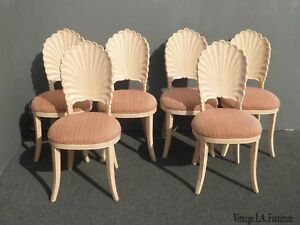 Set Of Six Vintage Mid Century Modern Grotto Style Shell Back Dining Room Chairs