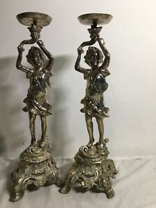 2 Art Nouveau Figural Boy Vintage Candle Holders Torchiere 20 Tall Heavy