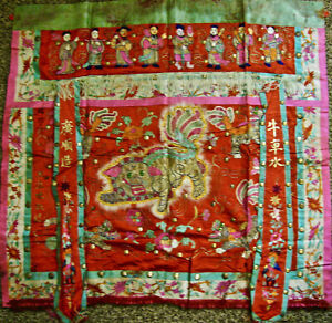 Antique Rare Chinese Silk Embroidered Tapestry With Eight Immortals