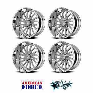 4 24x12 American Force Polished Ss8 Octane Wheels For Chevy Gmc Ford Dodge