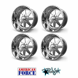 4 24x12 American Force Polished Ss8 Independence Wheels Chevy Gmc Ford Dodge