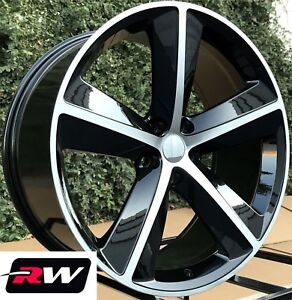 20 Inch Rw Wheels For Chrysler 300 Black Machined Rims Challenger Srt Style