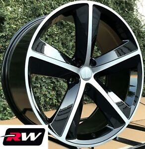 20 Inch Rw Wheels For Chrysler 300 Black Machined Rims Challenger Style Srt8