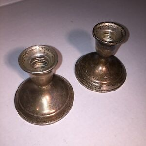 Old Towle Sterling Silver 701 Profax Liner Weighted Reinforced 2 Candle Holders