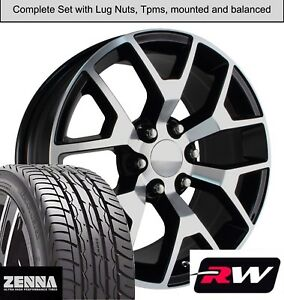 20 X9 Inch Wheels And Tires For Chevy Suburban Replica 5656 Black Machined Rims