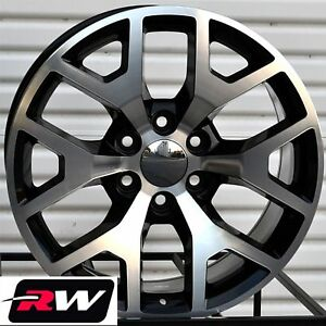 20 X9 Inch Rw 5656 Wheels For Chevy Truck Machined Black Rims 6x139 7 27 Set
