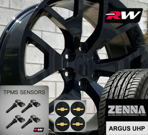 20 X9 Inch Wheels And Tires For Chevy Tahoe Replica 5656 Gloss Black Rims